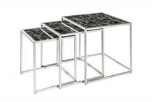 Zestaw trzech stolików ELEMENTS 3 - czarny/srebrny