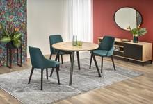 Stół okrągły rozkładany RUBEN 102 cm - dąb artisan/czarny