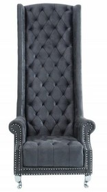 Fotel pikowany z wysokim oparciem HERITAGE - szary