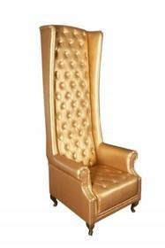 Fotel pikowany z wysokim oparciem HERITAGE - złoty