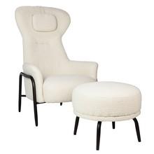 Fotel z podnóżkiem TEDDY GRAND - beżowy
