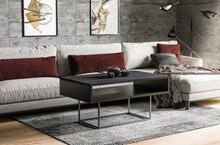 Ława z półką ENNA 100x60 - ciemny beton