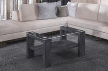 Ława ze szklanym blatem i półką LOREN 100x60 - ciemny beton