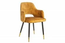 Krzesło PARIS AKSAMIT - żółty