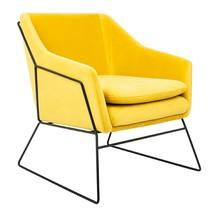 Fotel EMMA VELVET - żółty/czarny