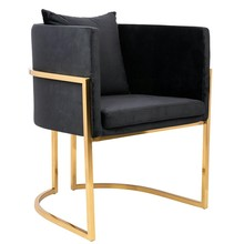 Fotel CHLOE VELVET - czarny/złoty