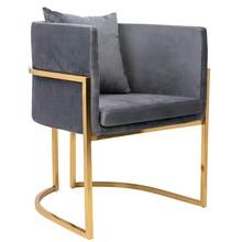 Fotel CHLOE VELVET - ciemny szary/złoty