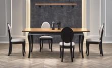 Stół rozkładany WINDSOR - ciemny dąb/czarny