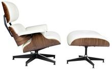 Fotel z podnóżkiem LOUNGE HM PREMIUM SZEROKI - biały/orzech