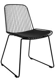 Krzesło metalowe z ekoskórą MILES - czarny