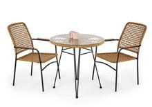 Stół ogrodowy okrągły FALCON 79 cm - naturalny/czarny