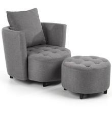 Fotel z podnóżkiem HAMPTON - popielaty
