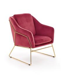 Fotel SOFT 3 - bordowy/złoty