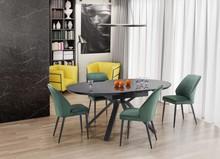 Stół okrągły rozkładany VERTIGO - czarny marmur/czarny