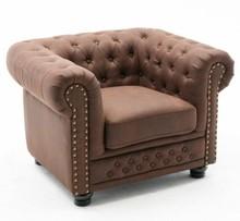 Fotel pikowany CHESTERFIELD II vintage  - brązowy