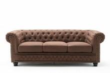 Sofa 3-osobowa pikowana CHESTERFIELD II - brązowy