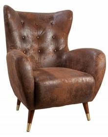 Fotel tapicerowany DON - brązowy