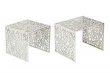 Zestaw dwóch stolików ABSTRACT - srebrny