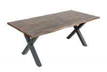 Stół z drewnianym blatem GENESIS VINTAGE 200x100 - brązowy/czarny